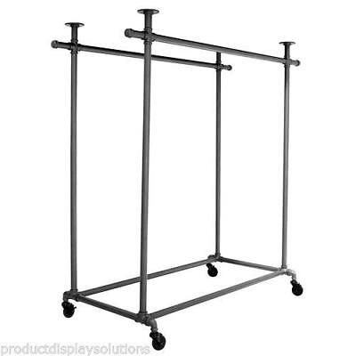Pipe Double Rail Rolling Clothing Garment Display Ballet Rack Grey