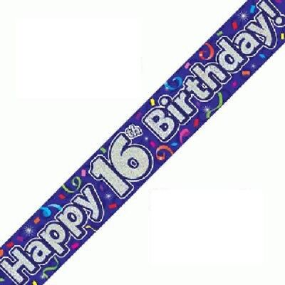 Happy 16th Birthday Banners (Happy 16th Birthday Streamers Banner 270 cm repeats 3 times Holographic)