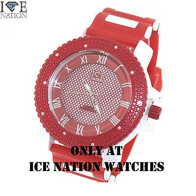 (New Men's Iced Out Ice Nation Swiss Design Hip Hop Bullet Wrist Band Watch W1586)