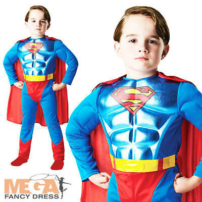 Superman Metallic Muscle Chest Boys Fancy Dress Superhero Kids Costume Outfit (Boys Superman Outfit)