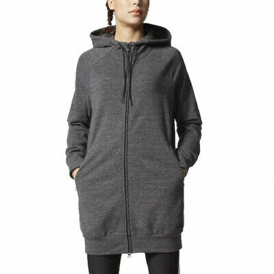 ADIDAS Long Line Women's Hoodie Double Zip Sweat Coat Zipper Pockets Logo BNWT