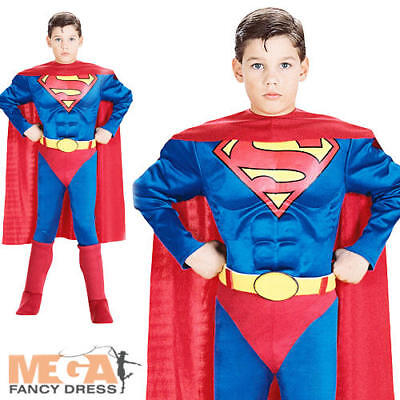 Muscle Superman Boys Fancy Dress Deluxe Superhero Kids Costume Child Outfit 3-10 (Boys Superman Outfit)