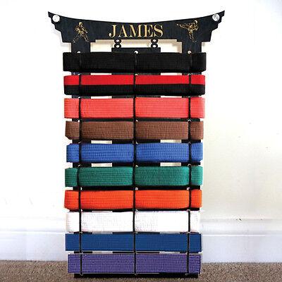 9 personalised martial arts belt holder rack display karate Teakwondo birthday