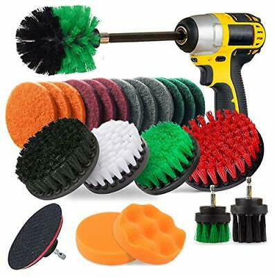 JUSONEY 23 Piece Drill Brush Attachment Set Power Scrubber Kit Scrub Brush wi...