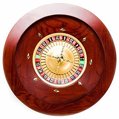 Casino Grade Deluxe Wooden Roulette Wheel, Red/Brown Mahogany, 19.5""