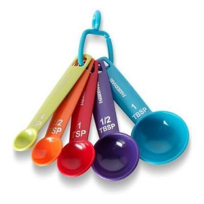 Farberware Measuring Spoons Durable Plastic Set Of 5 Kitchen Tools Multicolor