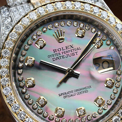 Rolex Datejust 36mm Two Tone Black Mother Of Pearl Dial Diamond Watch 116233
