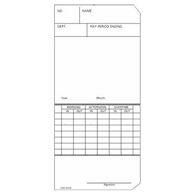 250 Ct Time Cards Weeklytop-feed Form 1950-9259 Fits Simplex 300 Or 500