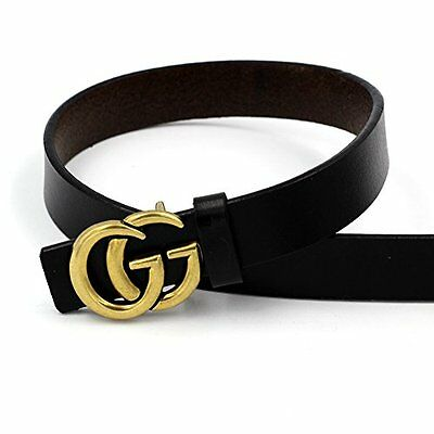 Womens Genuine Leather Thin Belts For Jeans 0.9″ Wide With Fashion Letter Buckle