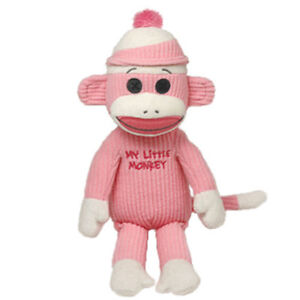 TY-SOCK-MONKEY-Plush-Stuffed-Baby-Girl-Newborn-40950-PINK-MY-LITTLE-MONKEY