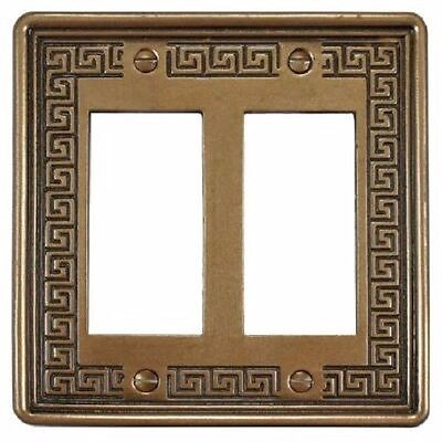Wall Switch Plate Cover Double Gang Outlet Greek Key Design Stone in Bronze