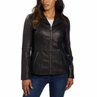 Marc New York Andrew Marc Womens Black Leather Jacket Zip Up Size L NWT Marc New York Black Jacket