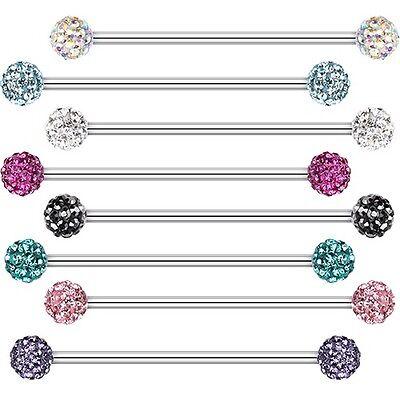 Industrial Barbell Tiffany Gem Clear AB Aqua Cartilage Piercing CZ Body Jewelry