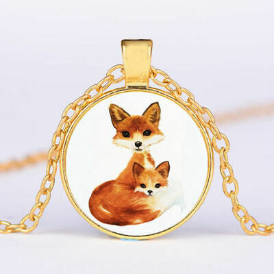 BROWN FOX ANIMAL  charm pendant GOLD FILLED 18K necklace 20
