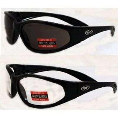 Lot Of 2 Global Vision Hercules Clear Smoke Unbreakable Safety Glasses Sunglass
