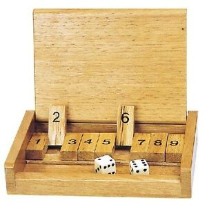SHUT THE BOX TRADITIONAL BOARD GAME TRAVEL SIZE