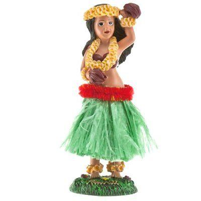 "Hawaiian Hula Girl with Flower Dashboard Doll 6.5"" (Green Skirt)"