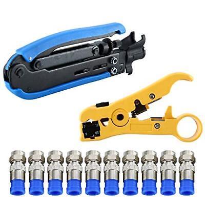 Coaxial Compression Tool Coax Cable Crimper Kit Adjustable RG6 RG59 RG11 75-5 75 (Compression Coax Kit)