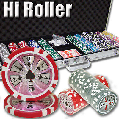 New 600 High Roller 14g Clay Poker Chips Set with Aluminum Case - Pick Chips!