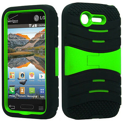 For Lg Optimus Fuel L34C Hard Gel Rubber KICKSTAND Case Phone Cover Accessory on Rummage
