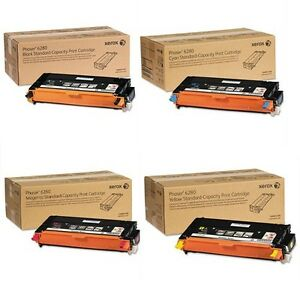 Genuine  Xerox Phaser 6280 Complete Toner Set  B/C/M/Y  1 of each color