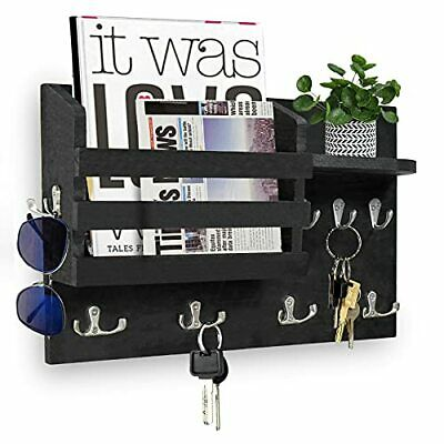 Mail Organizer Wall Mounted with Shelves and Hooks Mail and Key Holder for Wa...