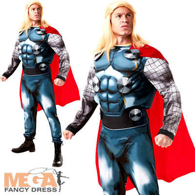 Deluxe Thor + Wig Mens Fancy Dress Avengers Marvel Comic Superhero Adult Costume