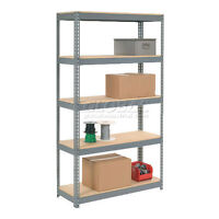 "Heavy Duty BOLTLESS Shelving 48""Wx12""Dx96""H With 4 Wood Shelves"