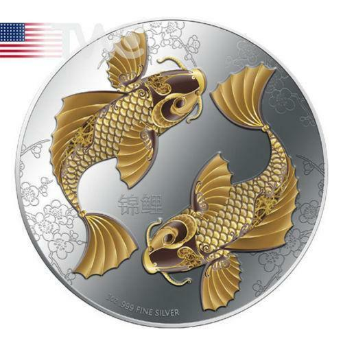 Feng shui koi coins paper money ebay for Silver koi fish