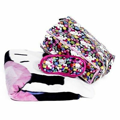 Hello Kitty Jewel Tote Bag Throw Fleece Nap  Blanket and Eye Mask 3pc Set, New