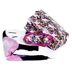Hello Kitty Jewel Tote Bag Throw Fleece Nap  Blanket and Eye Mask 3pc Set, New