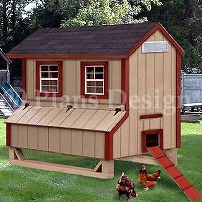 5x6 Gable Poultry Chicken House Coop Plans 90506g