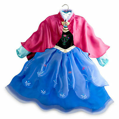 Nwt Disney Store Princess Anna Folk Costume Cape Gown Frozen Dress Up 7 8 9 10