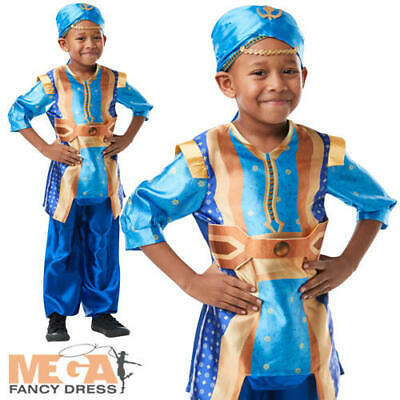 Genie Boys Fancy Dress Disney Live Action Aladdin Kids Arabian Fairytale Costume - Boys Aladdin Costume