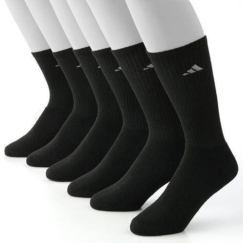 Adidas Athletic Crew Socks 6 Pair Climalite Cushioned Black