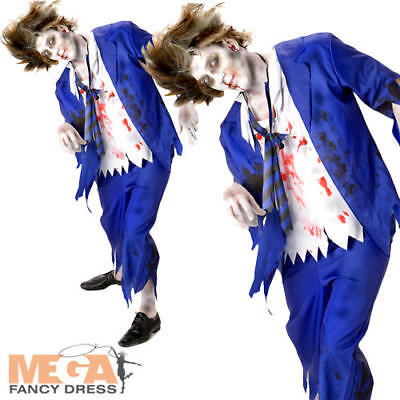 Zombie School Boy Mens Halloween Fancy Dress Undead Gory Adults Costume Outfit - Gory Halloween Outfits