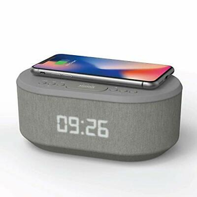 Bedside Radio Alarm Clock with USB Charger, Bluetooth Speaker, QI Wireless Grey