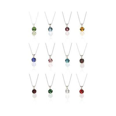 Solitaire Crystal Birthstone Pendant Necklace in - Crystal Pendant Silver Necklace