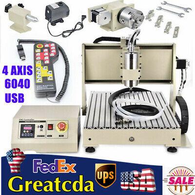 4-axis Cnc6040 Router Engraver Usb Wood Graving Milling Machine 1.5kw Handwheel