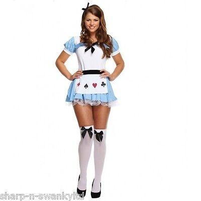 Damen Sexy Alice im Wunderland Büchertag Kostüm Kleid Outfit STD & Plus