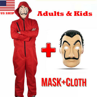 US! The House of Paper Adults Kids La Casa De Salvador Dali Money Heist Costume