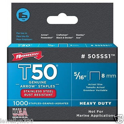 """ARROW STAINLESS STEEL STAPLES (5/16"""" T50) 505SS1 NEW"""
