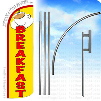 Breakfast - Windless Swooper Flag Kit Feather Banner Sign - Yq