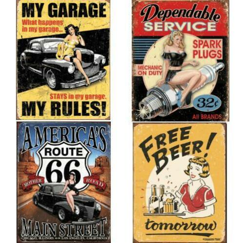 Nostalgie Retro Reclamebord Route 66 USA Oud Sign pin-up