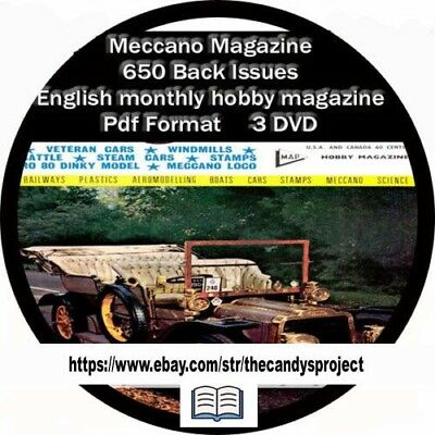 Monthly Hobby Magazine - Meccano Magazine Vintage 3 DVDs 650 Back issues English monthly hobby magazine