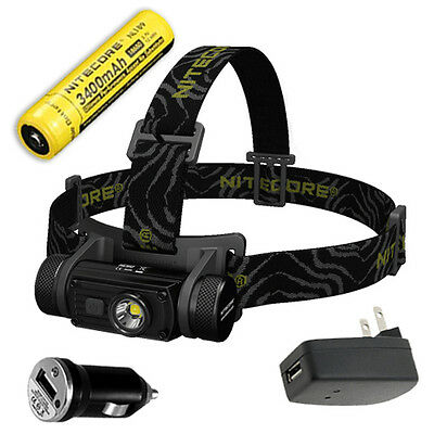 Nitecore HC60 Rechargeable Headlamp 1000Lm w/3400mAh Battery +Car & Wall Adaptor for sale  Shipping to India