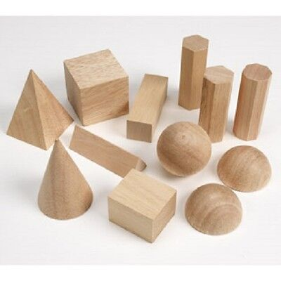 Basic Geometric Solids set 12 wooden shapes