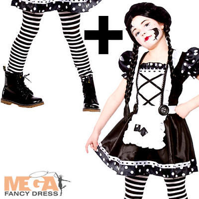 Broken Doll + Tights Girls Fancy Dress Halloween Ragdoll Kids Childs Costume New - Broken Doll Dress