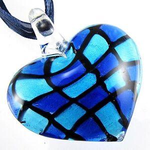 Royalblue Tartan Check Lampwork Murano Glass Heart Bead Pendant