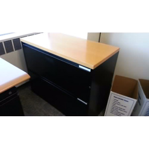 2 Drawer Lateral Filing Cab Black with wood top